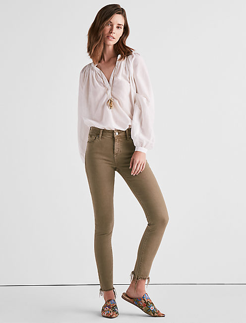 Lucky Ava Mid Rise Skinny Jean In Fray Majestic Green