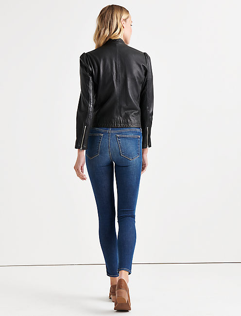 PUFF SLEEVE LEATHER JACKET,