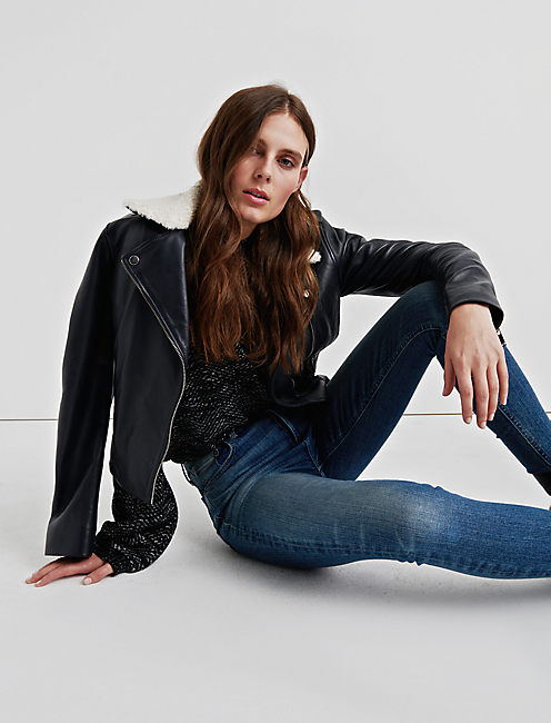 SHERPA COLLAR LEATHER JACKET,