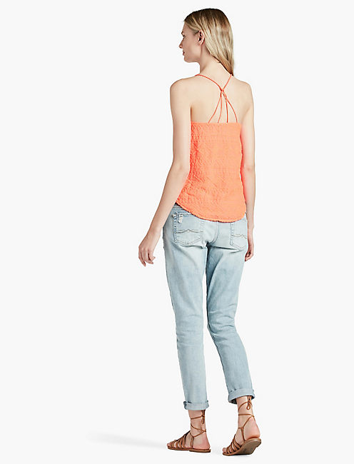 GEO EMBROIDERED STRAPPY TANK,