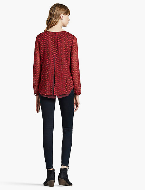 DOUBLE LAYER TOP, RED MULTI