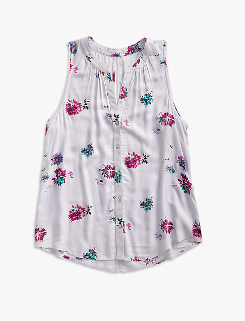 FLORAL V BUTTON UP TANK,