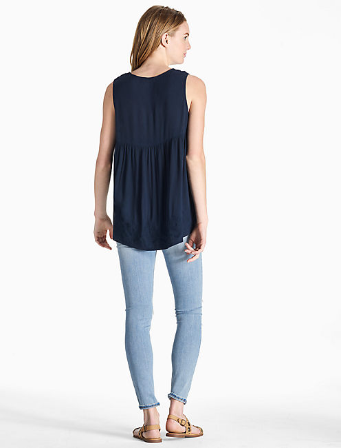 SCALLOP EMBROIDERED TANK, AMERICAN NAVY
