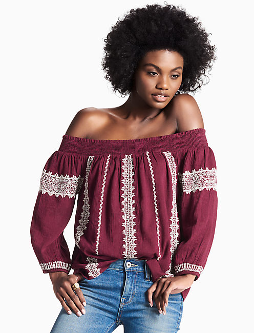 OFF THE SHOULDER EMBROIDERED PEASANT TOP,