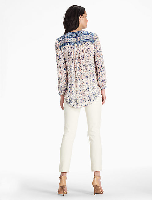 HALF PLACKET PEASANT TOP,
