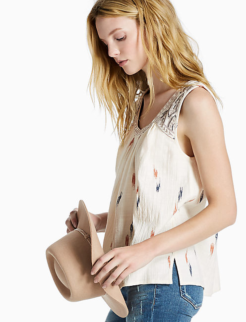 EMBROIDERED TANK TOP, NATURAL MULTI