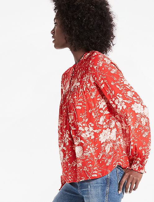 ROUCHED HIGH NECK BLOUSE, RED MULTI