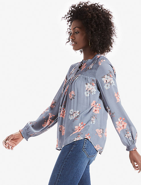 ROUCHED HIGH NECK BLOUSE, BLUE MULTI