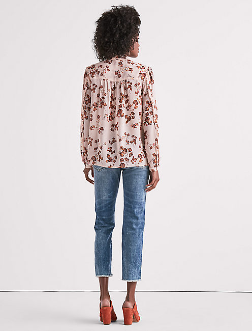 PRINTED DANDALION PEASANT TOP,