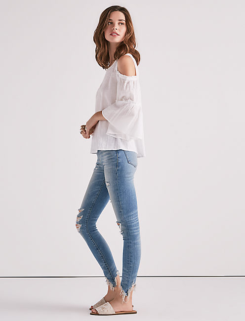 Lucky Bell Sleeve Cold Shoulder Top