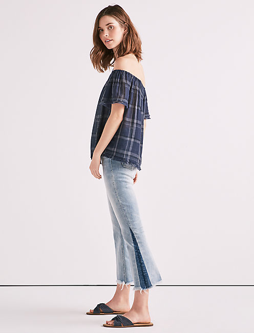 Lucky Off The Shoulder Plaid Raw Edge Top