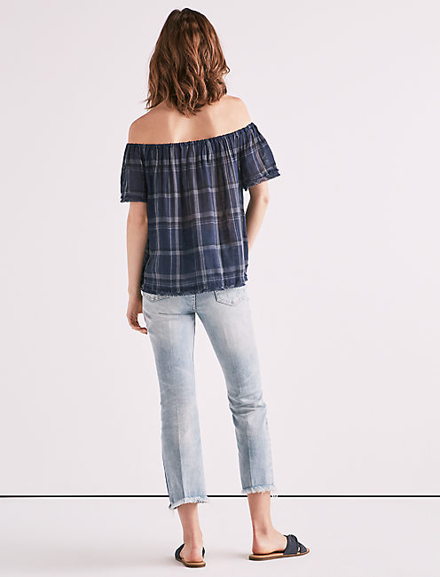 OFF THE SHOULDER PLAID RAW EDGE TOP,