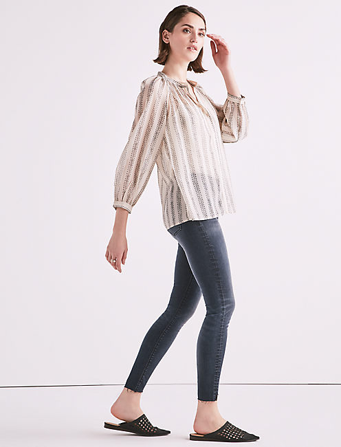 Lucky Geo Stripe Poet Blouse
