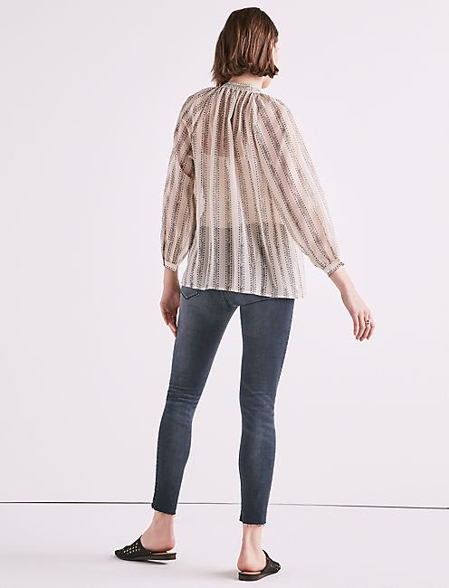 GEO STRIPE POET BLOUSE,