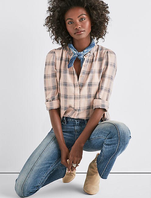 PLAID PUFF SLEEVE SHIRT,