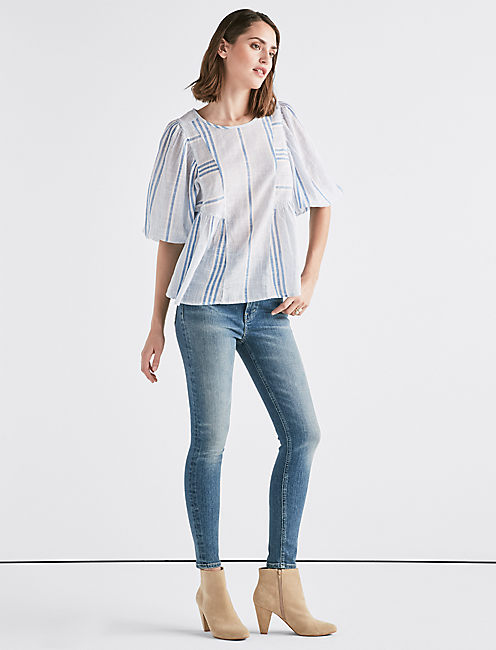 Lucky Cindy Stripe Peasant Top