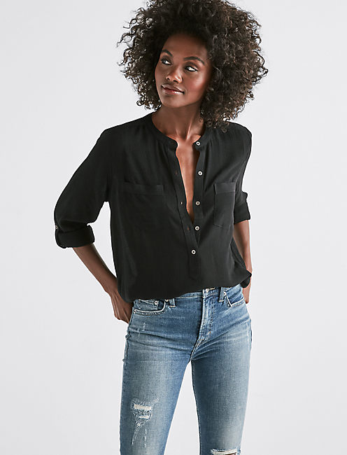 SOLID LONG SLEEVE BUTTON-DOWN SHIRT,
