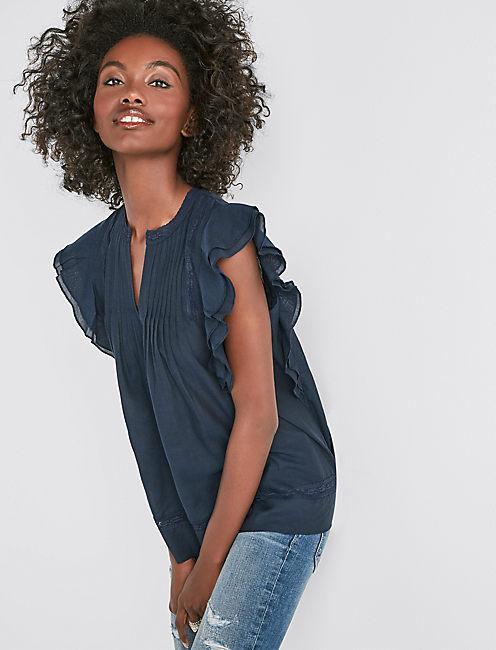 SLEEVELESS SOLID PINTUCK TOP,