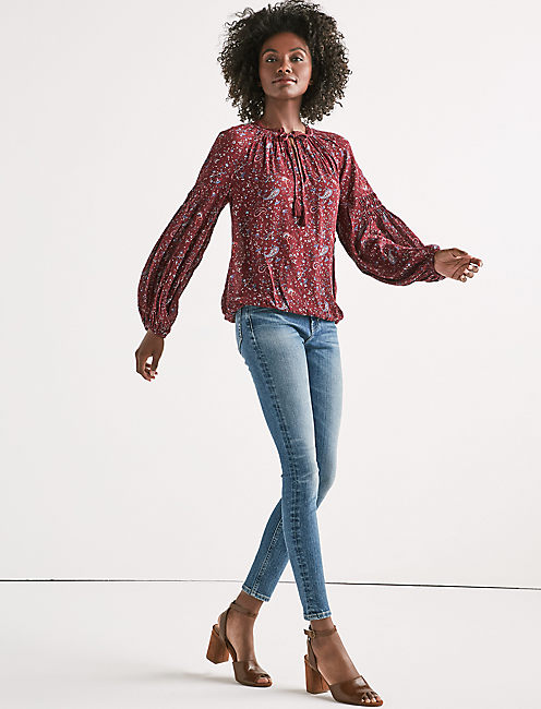 Lucky Paisley Lace Peasant Top