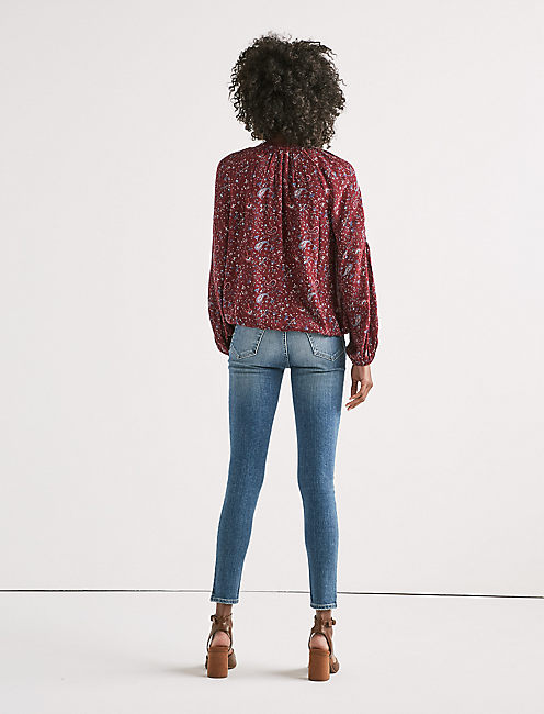 PAISLEY LACE PEASANT TOP,