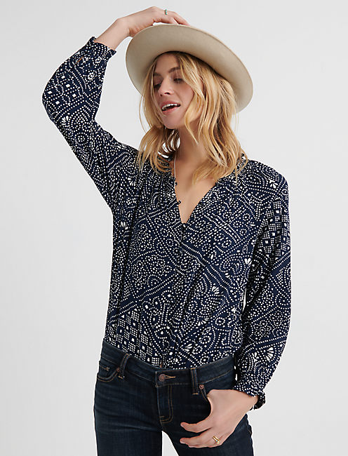 BUTTON THROUGH PEASANT TOP, NAVY MULTI