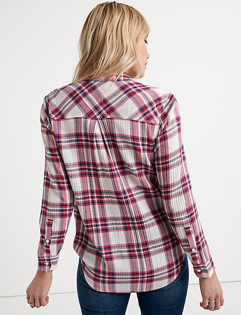 Long Sleeve CLASSIC SHIRT, BURGUNDY MULTI