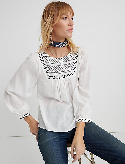 EMBROIDERED PEASANT TOP, LUCKY WHITE