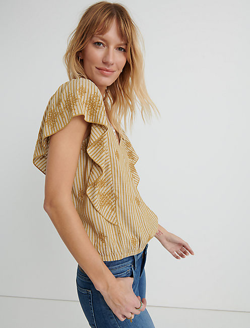 Cross Over Flutter Sleeve Top