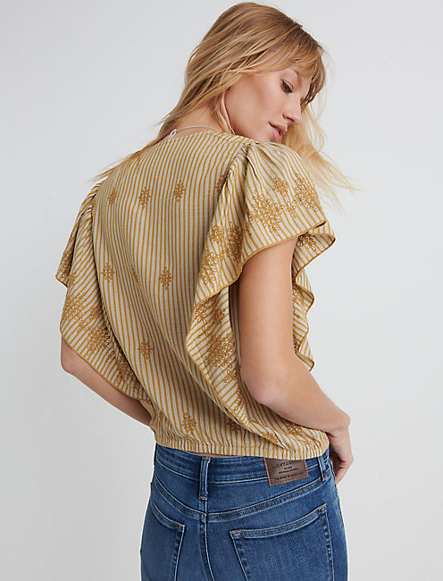 CROSS OVER FLUTTER SLEEVE TOP, YELLOW MULTI