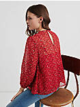 FLORAL SMOCKED TOP, RED MULTI