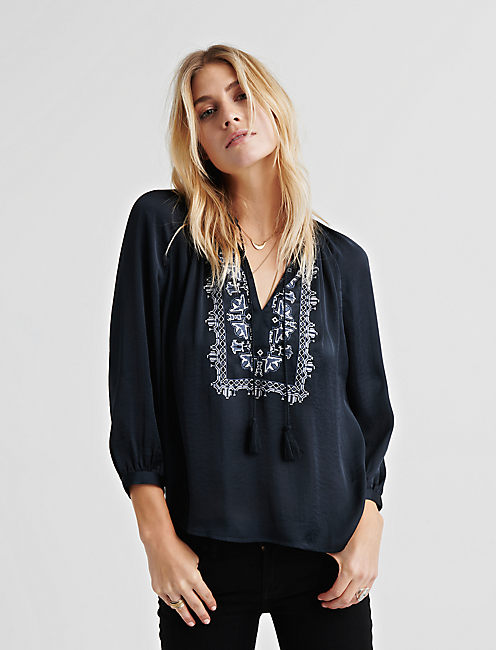 Lucky Embroidered Satin Top
