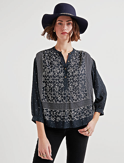 MOON MIX BORDER PRINT PEASANT,