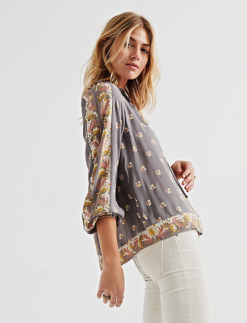 BORDER PRINT TOP, GREY MULTI