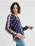 BORDER PRINT TOP, NAVY MULTI