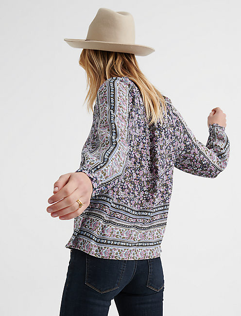BUTTON THROUGH BORDER PRINT PEASANT TOP,