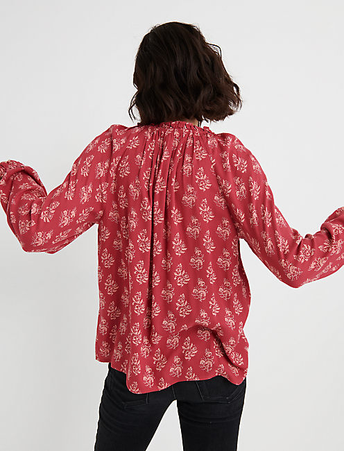 BUTTON THROUGH PEASANT TOP, RED MULTI