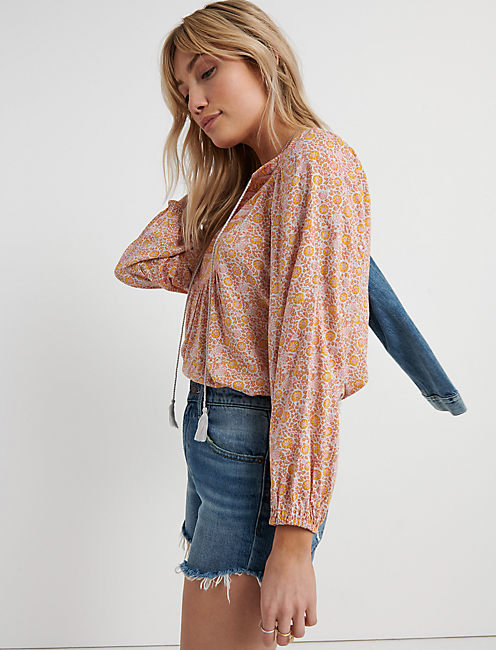 Mixed Border Print Top
