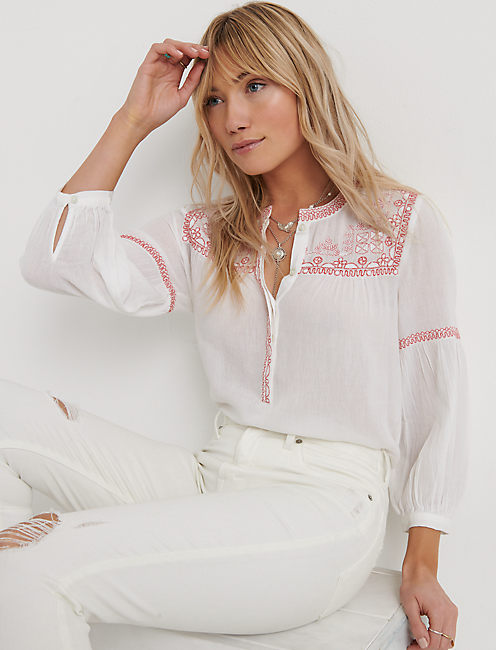 EMBROIDERED TOP, LUCKY WHITE