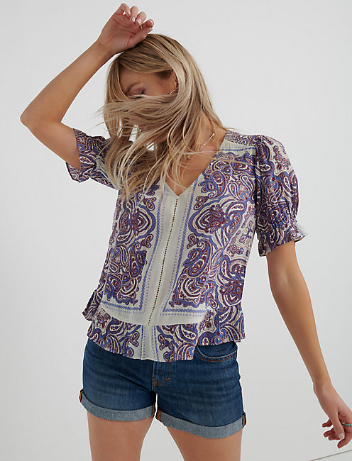 PRINTED MAYA TOP, NATURAL MULTI