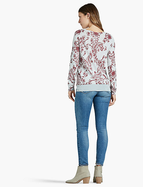 MOSAIC PRINT PULLOVER SWEATER,