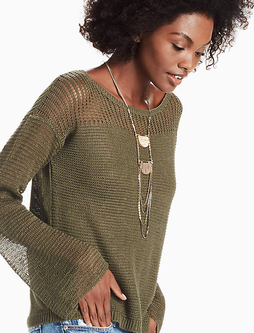 BELL SLEEVE PULLOVER SWEATER, OLIVE NIGHT