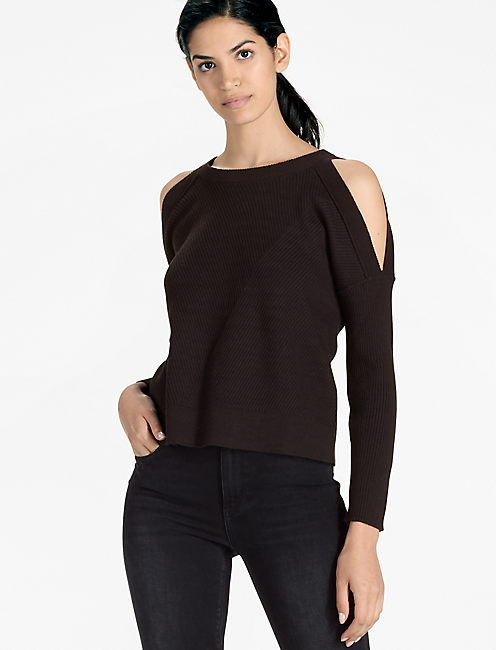 COLD SHOULDER SWEATER,