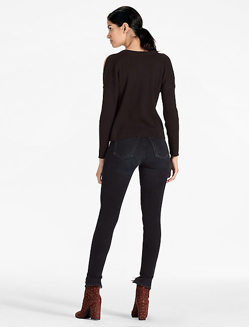 COLD SHOULDER SWEATER, 001 LUCKY BLACK