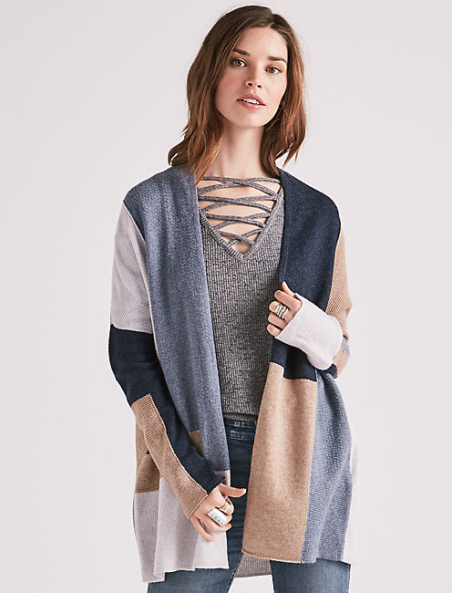 COLOR BLOCK CARDIGAN,