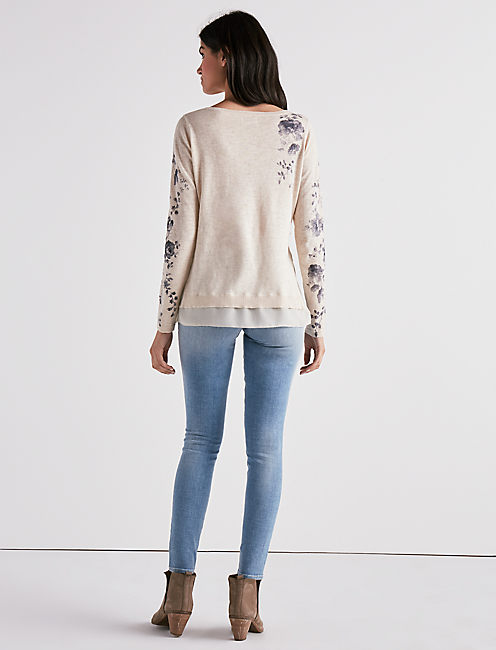 PLACED FLORAL PULLOVER SWEATER,