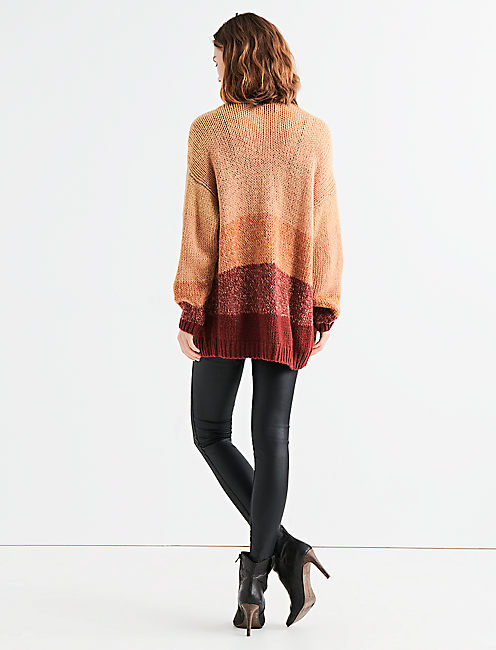 STRIPE OVERSIZE CARDIGAN, RUST MULTI