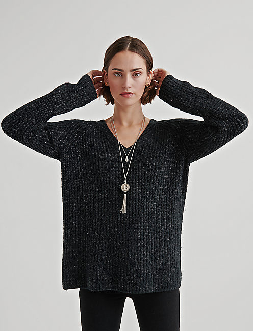 V NECK TUNIC SWEATER, 001 LUCKY BLACK