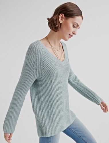 Lucky V Neck Tunic Sweater