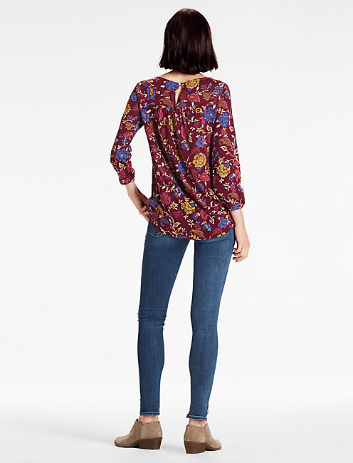 AREN EMBROIDERED TOP, BERRY MULTI