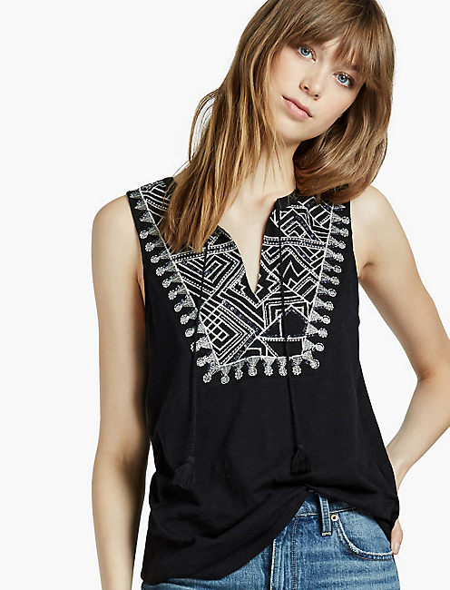 EMBROIDERED SEQUIN TANK,